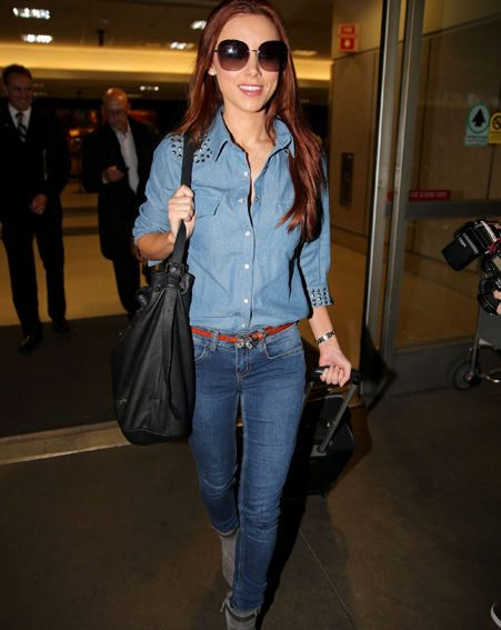 Una Healy opted for a double denim look as she arrived in the early hours of the morning