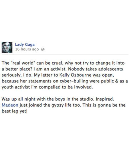 Lady Gaga's response to Sharon Osbourne on Facebook