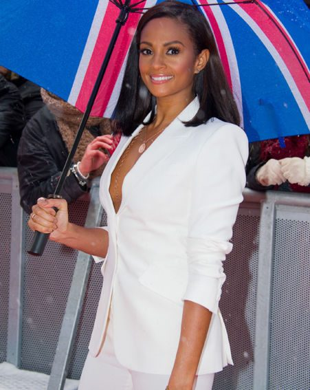 Alesha Dixon wore a white suit by Alexander McQueen which showed off just enough flesh to excite