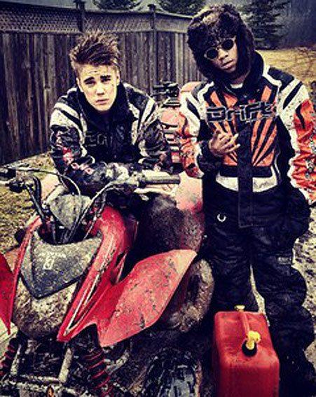 Justin Bieber and Lil Twist enjoy a day four-wheeling