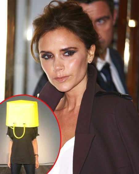 Victoria Beckham escaped her hectic prep for New York Fashion Week by putting her head in a bag