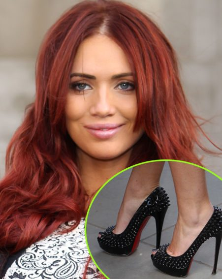 Amy Childs wore a pair of spiked high heels on the opening day of London Fashion Week 2013