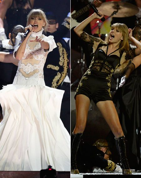 Taylor Swift hit the BRITs stage in white gown before stripping off to reveal a racy black playsuit