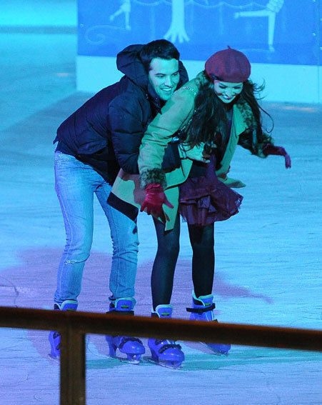 Jessica Wright and Ricky Rayment looked very much in love as they hit the ice