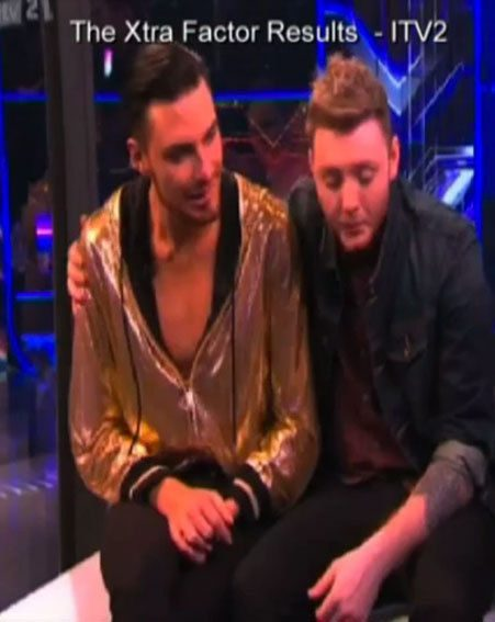 Rylan Clark was comforted by James Arthur as he spoke to Caroline Flack on The Xtra Factor