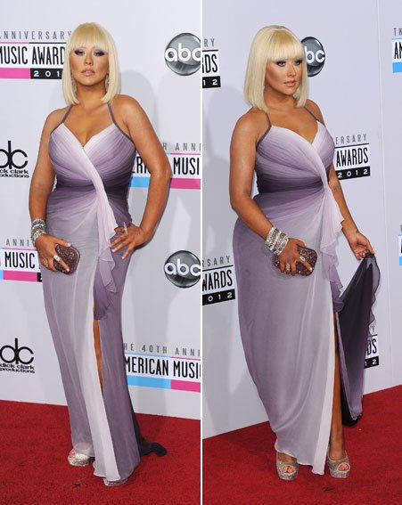 Christina Aguilera showed off her curves in a lilac wrap around frock