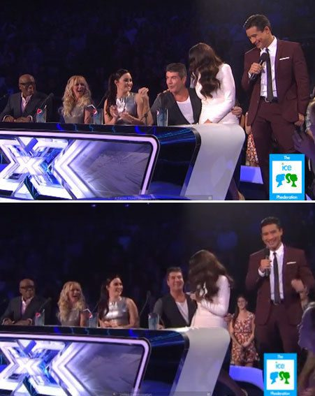 Simon Cowell couldn't contain his delight when Khloe Kardashian hopped on his lap