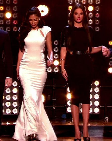 Tulisa donned a Victoria Beckham number while Nicole Scherzinger opted for a pearl gown