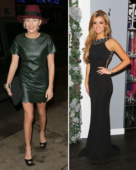 Lydia Bright opted for a leather mini while Lucy Mecklenburgh wore a backless black maxi dress