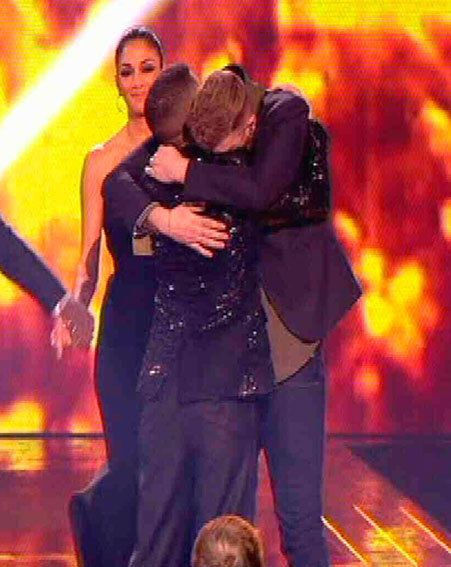 Jahmene Douglas congratulated James Arthur when he was crowed winner of The X Factor 2012