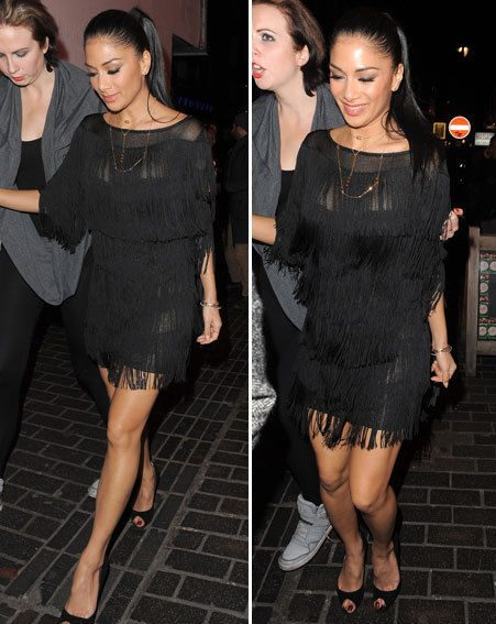 Nicole Scherzinger wore a tiny fringed LBD to The Box club last night