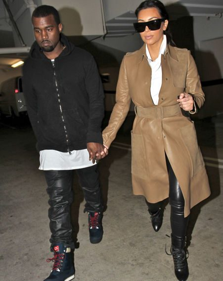 Kim Kardashian and Kanye West were snapped in Beverly Hills wearing matching leather trousers