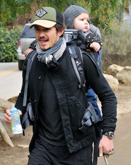 Orlando Bloom and Flynn enjoyed a father-son day out, but Flynn didn't look too pleased